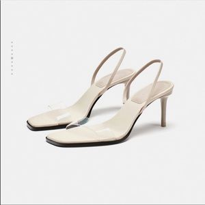 Zara vinyl high heels - leather nude straps